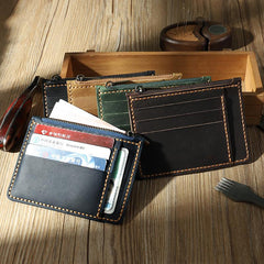 Handmade Leather Mens Front Pocket Wallets Personalized Slim Card Wallet for Men