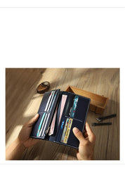 Handmade Coffee Mens Bifold Long Wallets Personalized Coffee  Leather Checkbook Wallets for Men