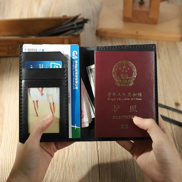 Handmade Black Mens Slim Travel Billfold Wallets Personalized Leather Passport Wallet for Men