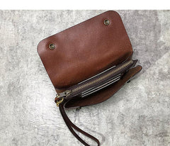 Handmade Black Leather Mens Long Wallet Tan Wristlet Wallet Brown Clutch Biker Chain Wallet Men
