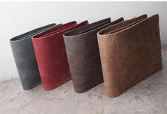 Handmade Khaki Leather Mens Bifold Billfold Wallets Slim Khaki Small Wallet for Men