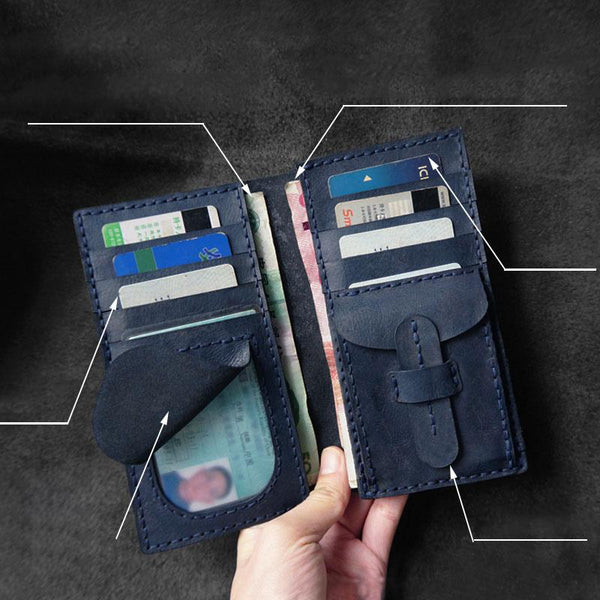 Handmade Leather Mens Bifold Long Wallets Blue Checkbook Wallet Lots Cards Long Wallet for Men