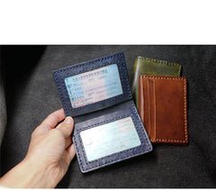 Handmade Blue Leather Mens Slim Card Holders Wallets Slim Bifold Card Wallet for Men