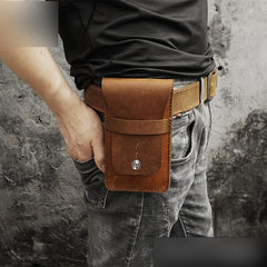 Handmade Brown LEATHER MEN Slim Belt Pouches Waist BAG Slim Belt Bag FOR MEN