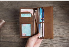 Handmade Brown Leather Mens Bifold Long Wallet Lots Cards Blue Travel Long Wallet for Men