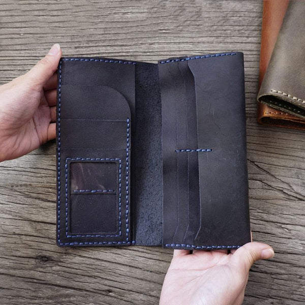 Handmade Blue Leather Mens Bifold Long Wallet Lots Cards Travel Long Wallet for Men