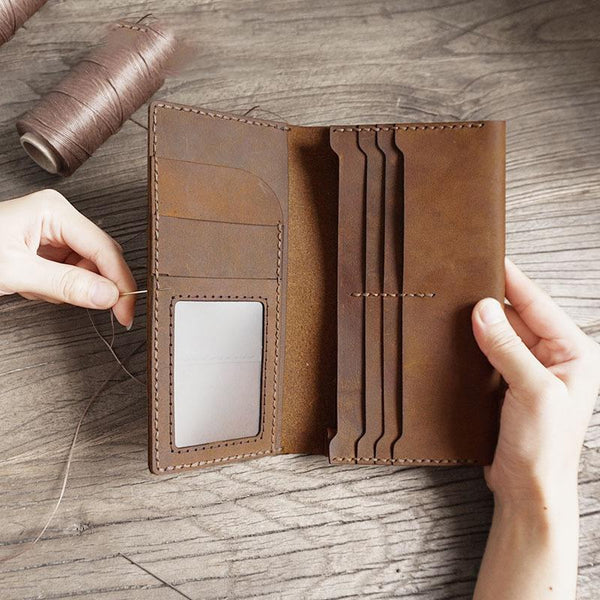 Handmade Brown Leather Mens Bifold Long Wallet Lots Cards Travel Long Wallet for Men
