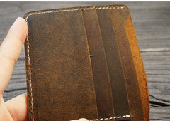 Handmade Brown Leather Mens Billfold Wallet Slim Brown Bifold Small Wallet for Men