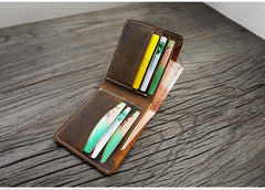 Handmade Brown Leather Mens Billfold Wallets Slim Brown Bifold Small Wallet for Men