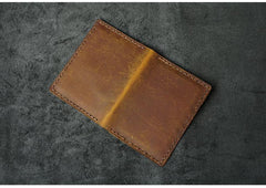 Handmade Brown Leather Mens Slim License Wallets Slim Bifold Card Wallet for Men