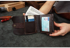 Handmade Blue Leather Mens Trifold Billfold Wallet With Coin Pocket Brown Small Wallet for Men