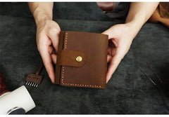 Handmade Coffee Leather Mens Trifold Billfold Wallet With Coin Pocket Brown Small Wallet for Men