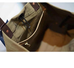 Handmade Canvas Leather Cool Mens Tote Bag Canvas Handbag Canvas Tote Canvas Messenger Bag for Men Women