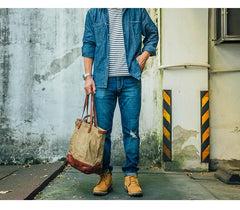 Cool Canvas Leather Cool Mens Tote Bag Canvas Handbag Canvas Tote Canvas Messenger Bags for Men Women