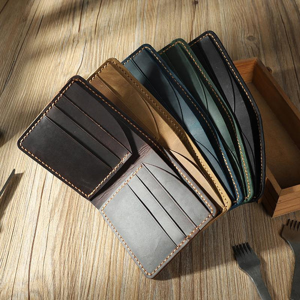 Handmade Leather Bifold Billfold Personalized Mens Bifold Wallet for Men