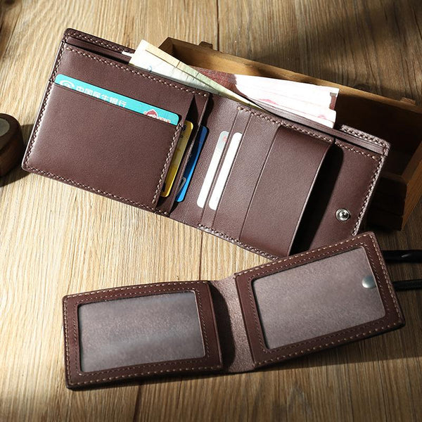 Handmade Coffee Leather Bifold Billfold Wallets Personalized Mens Bifold Wallet for Men