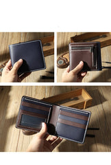 Handmade Blue Leather Billfold Wallet Personalized Mens Contrast Color Wallets for Men