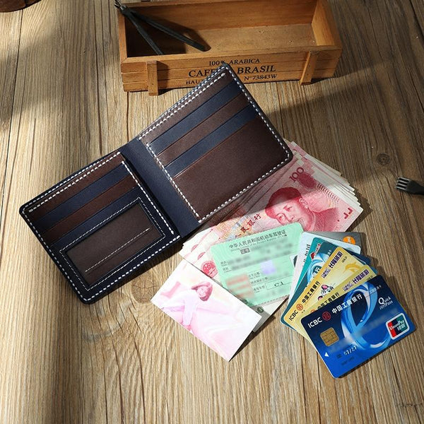 Handmade Blue Leather Billfold Wallets Personalized Mens Contrast Color Wallets for Men