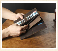 Handmade Coffee Leather Mens Bifold Long Wallets Personalized Black Checkbook Wallet for Men