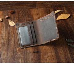 Handmade Black Leather Mens Billfold Wallet Personalize Black Bifold Small Wallets for Men