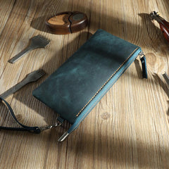 Handmade Blue Mens Clutch Wallet Personalized Blue Leather Slim Zipper Clutch for Men