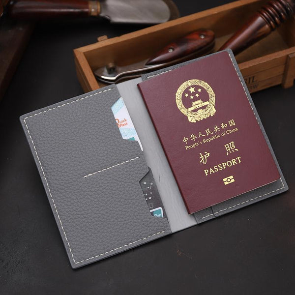 Handmade Gray Mens Slim Travel Billfold Wallets Personalized Leather Passport Wallet for Men