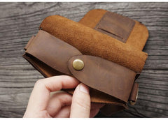 Handmade LEATHER MEN Belt Pouch Brown Waist BAG MIni Side Bag Belt Bag FOR MEN
