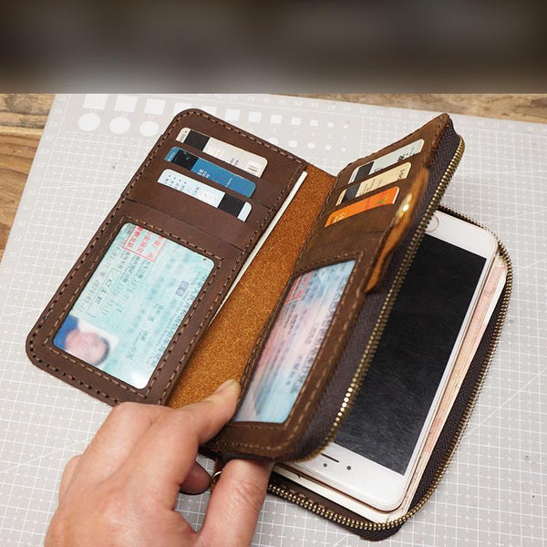 Handmade Leather Mens Bifold Long Wallet Clutch Checkbook Wallet Lots Cards Long Wallet for Men