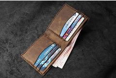 Handmade Brown Leather Mens Billfold Wallets Slim Brown Bifold Small Wallets for Men