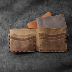 Handmade Leather Mens Billfold Wallets Slim Brown Bifold Small Wallet for Men