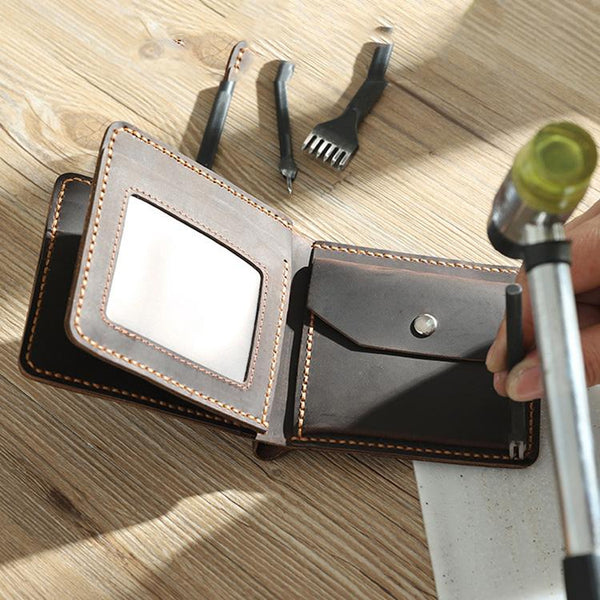 Handmade Coffee Leather Mens Trifold Billfold Wallet Personalize Trifold Small Wallets for Men