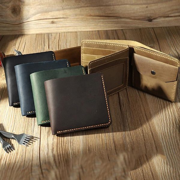 Handmade Leather Mens Trifold Billfold Wallet Personalize Trifold Small Wallets for Men