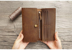 Handmade Leather Mens Trifold long Wallet Lots Cards Checkbook Long Wallet for Men