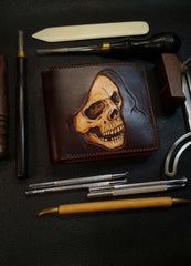 Handmade Leather Skull Tooled Mens Billfold Wallet Death Leather Wallet Slim Wallet for Men