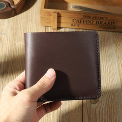 Handmade Coffee Leather Trifold Billfold Wallet Personalized Mens Trifold Wallets for Men
