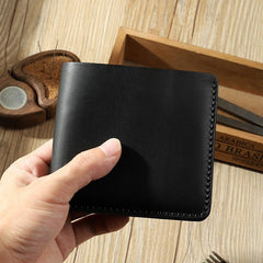 Handmade Black Leather Trifold Billfold Wallet Personalized Mens Trifold Wallets for Men