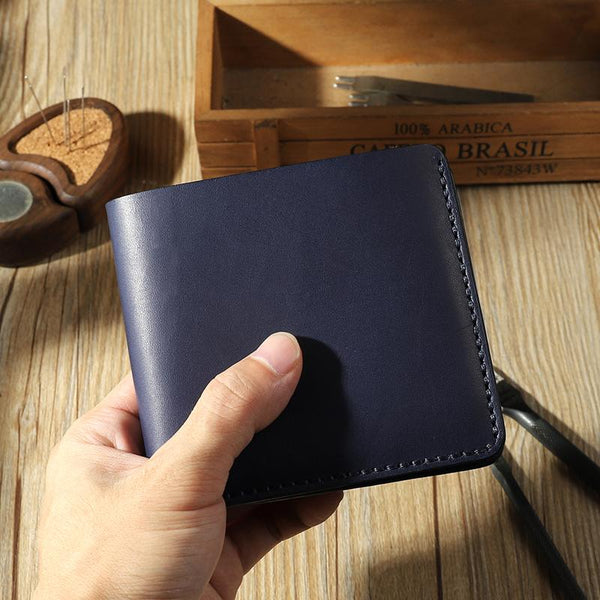 Handmade Blue Leather Trifold Billfold Wallet Personalized Mens Trifold Wallets for Men