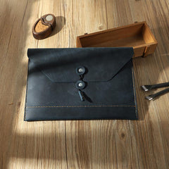 Handmade Black Mens Clutch A4 Envelope File Bag Personalized Black Leather Folder Purse for Men