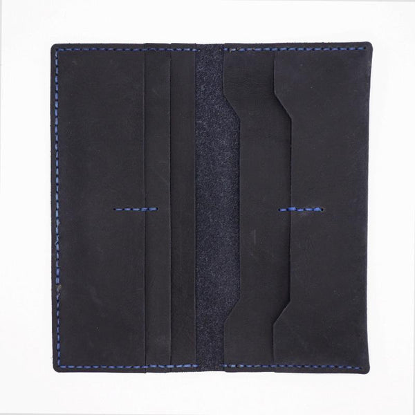 Handmade Slim Blue Leather Mens Bifold Long Wallet Lots Cards Long Wallet for Men