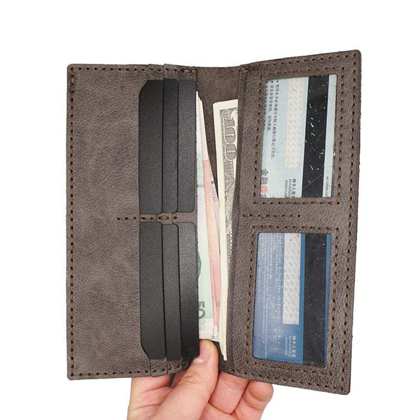Handmade Slim Checkbook Wallet Khaki Leather Mens Bifold Long Wallet Lots Cards Long Wallet for Men