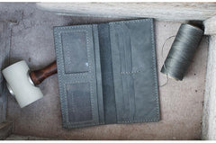 Handmade Slim Checkbook Wallet Coffee Leather Mens Bifold Long Wallet Lots Cards Long Wallet for Men