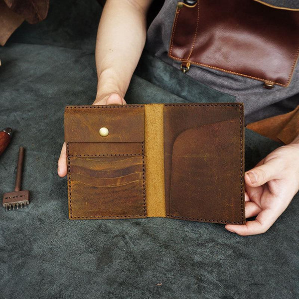 Handmade Slim Leather Mens Bifold Travel Wallets Passport Wallet Long Wallet for Men