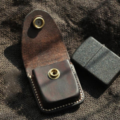 Handmade Coffee Leather Mens Classic Zippo Lighter Case With Belt Loop Lighter Holder For Men