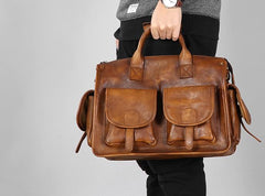 Handmade Genuine Leather Vintage Brown Mens Shoulder Bag Travel Bag Cool Messenger Bag Handbag for Men