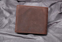 Genuine Leather Vintage Mens Small Wallet billfold Bifold Wallet for Men