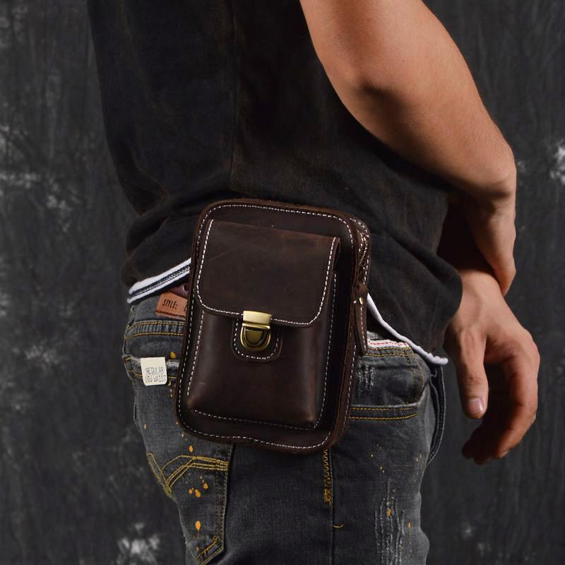 Vintage Leather Cell Phone Holster Belt Pouch Brown BELT BAG For Men