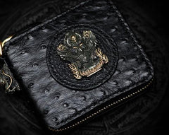 Handmade Leather Black Biker Wallets Mens Cool Short Chain Wallet Trucker Wallet with Chain
