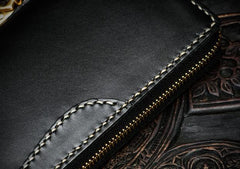 Handmade Leather Black Chain Wallet Mens Biker Wallet Cool Leather Wallet Long Wallets for Men