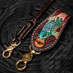 Cool Leather Braided Biker Carp Wallet Chain for Chain Wallet Biker Wallets Trucker Wallets