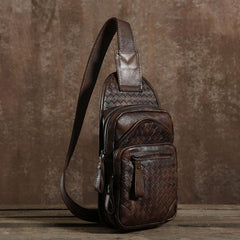 Handmade Leather Braided Mens Cool Chest Bag Sling Bag Crossbody Bag Travel Bag Hiking Bag for men
